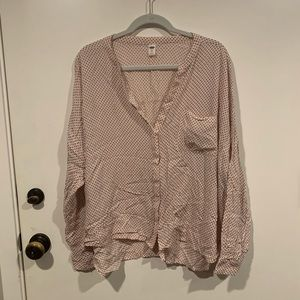 XXL Button Top Light Pink with Black Stars, GUC
